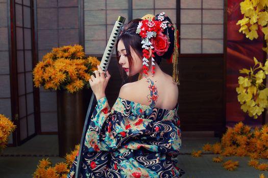 Бесплатные фото Девушка самурай,японский стиль,девушка,девушки,макияж,лицо,косметика,стиль,гламур,красота,модель,красивый макияж