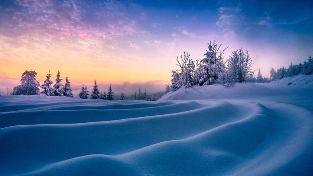 Фото бесплатно небо, пейзаж, сугробы