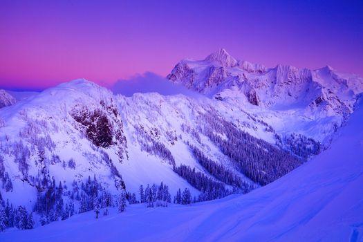 Фото бесплатно Зимний закат Алпенглоу, гора Шуксан, Национальная зона отдыха