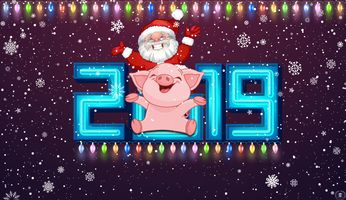 Photo free 2019 bunker with the symbol of the year, Christmas decorations, Christmas
