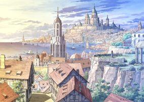 Заставки город аниме, фэнтези, мир