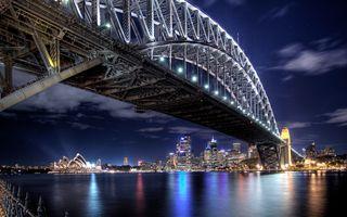 Бесплатные фото Australia,Sydney Harbour Bridge,Мост Харбор Бридж,Сидней,ночные города