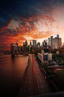 Заставки город,птица,дорога,улица,здание,Нью-Йорк,темный закат
