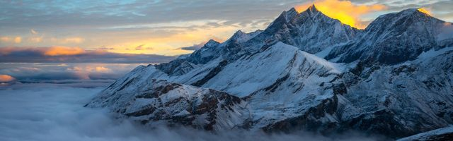 Фото бесплатно гора, снег, туман