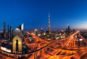Заставки ОАЭ, ночной город, Дубаи