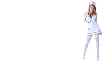 Бесплатные фото медсестра,сексуальная,8К,стетоскоп,Виола Бэйли,чулки,белые чулки