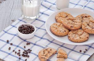 Фото бесплатно печенье, овсяное, молоко