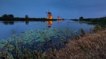 Фото бесплатно Ветряные мельницы в районе Киндердейк, Киндердейк, Нидерланды