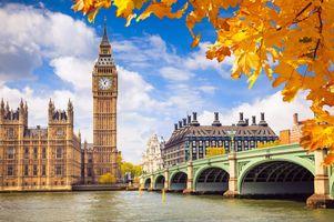 Фото бесплатно Лондон, Биг-Бен, листья