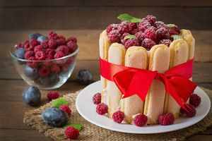 Бесплатные фото торт,ягоды,малина,крем,лента
