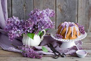 Фото бесплатно букет сирени, натюрморт, флора