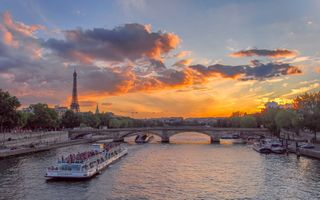 Заставки закат, Seine River, Eiffel tower