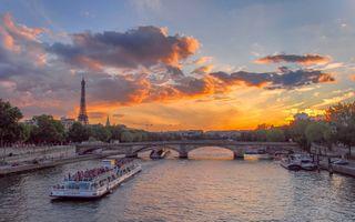 Фото бесплатно закат, Seine River, Eiffel tower