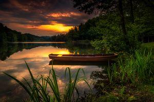 Photo free sunset, lake, boat