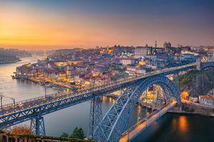 Бесплатные фото Porto,Portugal,Порто,Португалия,закат,город,мост
