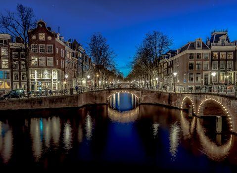 Фото бесплатно ночной город, канал, Ночь