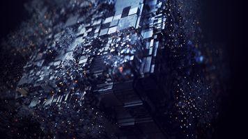 Photo free dark cube, particles, digital art