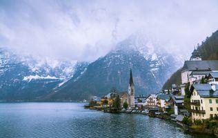 Заставки Hallstatt,Хальштатт,осенний пейзаж,Гальштат,Австрия,озеро Хальштаттерзее,город