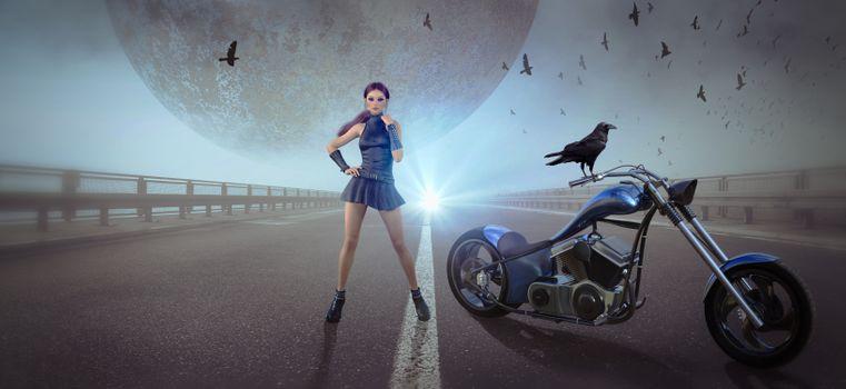 Заставки фантазии, мотоцикл, женщина
