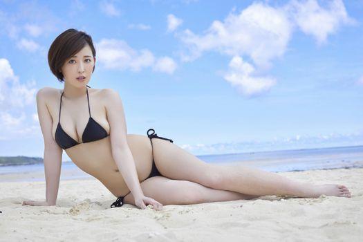 Фото бесплатно Сара Ошино, азиатский, пляж