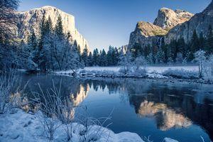 Фото бесплатно природа, снег, озеро