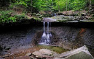 Фото бесплатно лес, скалы, водопад