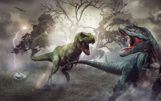 Фото бесплатно Тираннозавры, Тирекс, гроза мира динозавров