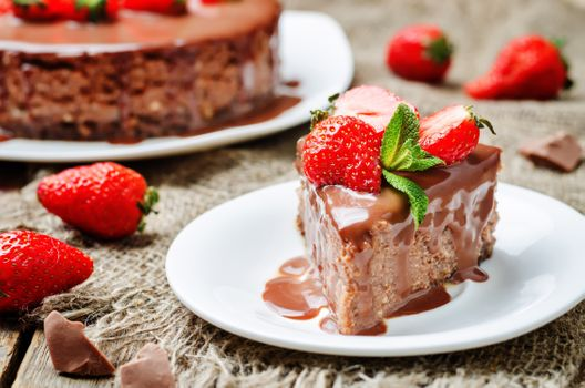 A piece of cake with strawberries · free photo