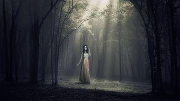 Фото бесплатно девушка, лес, туман