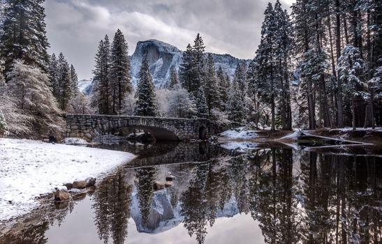 Фото бесплатно каменный мост, река, зима