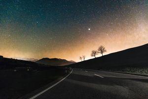 Фото бесплатно небо, дорога, ночь