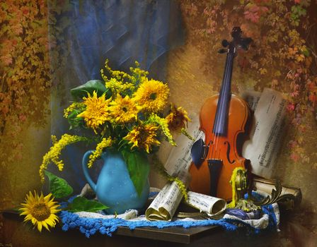 Заставки скрипка, цветы, картина