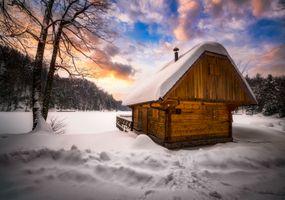 Заставки небо, замерзшее озеро, снег