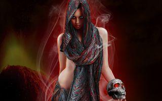 Заставки темная, череп, девушки
