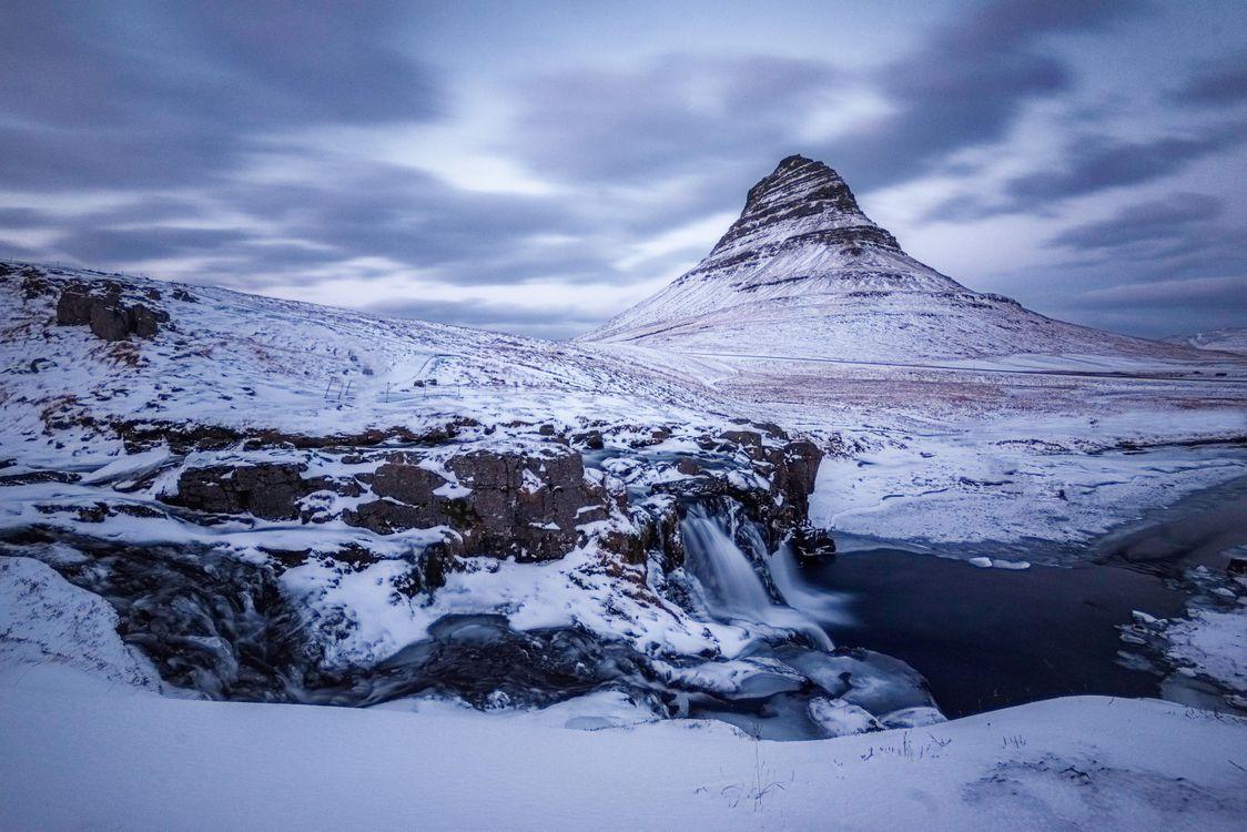 Фото бесплатно Grundarfjordur фьорд, река, зима - на рабочий стол