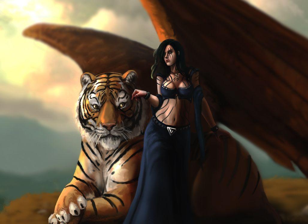 Обои тигр, ангел, крылья, девушка, платье, рисунок, искусство, художественные, произведения искусства, фантазии, оригинального на телефон | картинки рендеринг