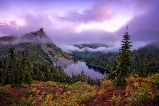 Бесплатные фото Озеро Вальхалла,Okanogan-Wenatchee National Forest,Washington,закат,горы,деревья,осень,пейзаж