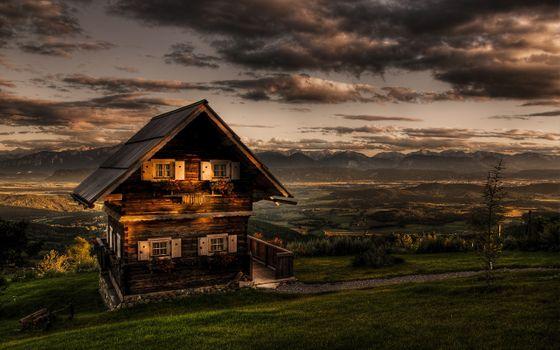 Фото бесплатно старый дом, холмы, горы