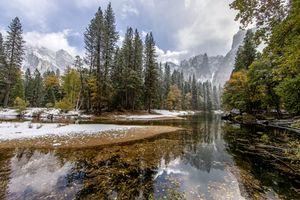 Фото бесплатно река, деревья, отражение, ручей, облака, снег, зима
