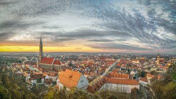 Заставки Ландсхут, старый Город, Изар, Bavaria, Германия, панорама, закат