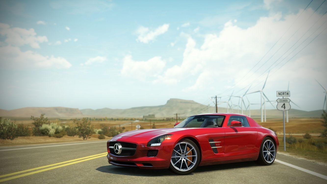 Фото бесплатно Горизонт Forza, Мерседес Бенц, красный - на рабочий стол