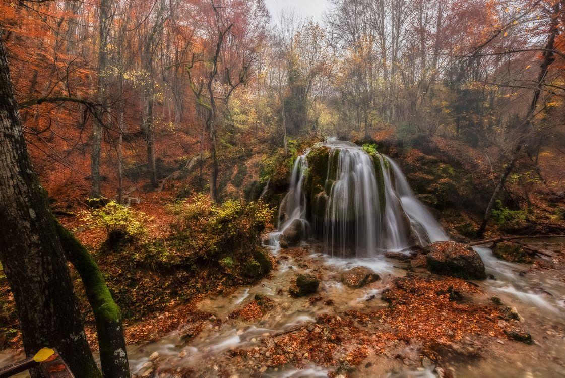 Фото бесплатно осенние листья, водопад, камни - на рабочий стол