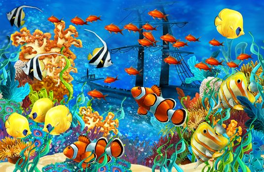 Photo free fish, a sunken ship, reefs