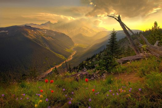 Фото бесплатно закат, горы, альпийские луга