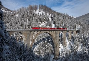 Бесплатные фото поезд,зима,виадук,train,Wiesen viaduct,Switzerland