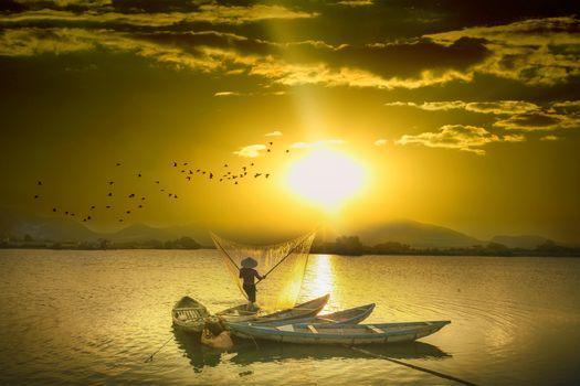 Фото бесплатно sky, clouds, fisherman