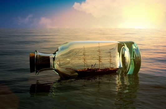 Ship in a bottle floating on the waves