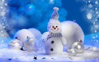 Заставки Рождество, снеговик, новогодние игрушки