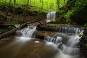 Фото бесплатно Don Robinson State Park, Missouri, лес, деревья, река, течение, водопад, природа, пейзаж