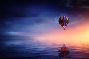 Бесплатные фото закат,море,небо,птицы,воздушный шар,пейзаж,art